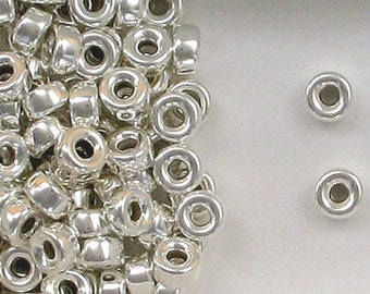 Sterling Silver 6mm Plain Round Tire Spacer Beads, Choice of Lot Size