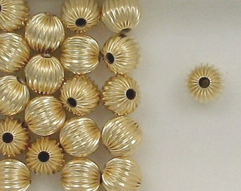 14k Gold Filled  8mm Corrugated Round Spacer Beads, Choice of Lot Size 308