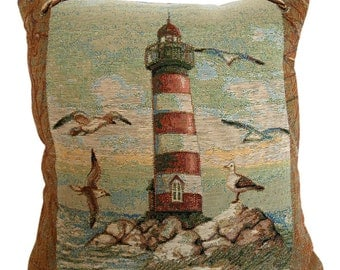 Lighthouse Tapestry Cushion Cover - 38x38cm
