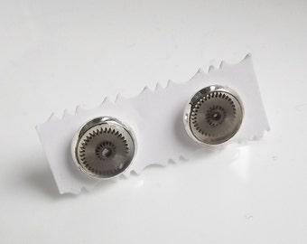 Anonymus 5   Post earrings with watch parts cogs screws  and resin. Steampunk Industrial Minimal