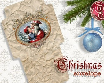 KISSING SANTA - Printable Download Digital Collage Sheet Envelope with print on reverse side - Print and Cut