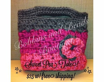 Sweet Pea Tote with coordinating flower - Choice of custom colors