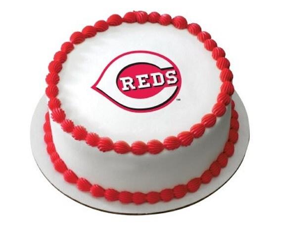 Cincinnati Reds Baseball MLB Edible Image Cake By BigCatCrafts