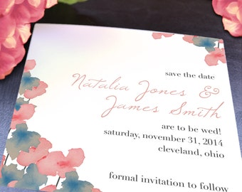 Natalia Pink & Blue Watercolor Flowers Square Save the Date - Deposit