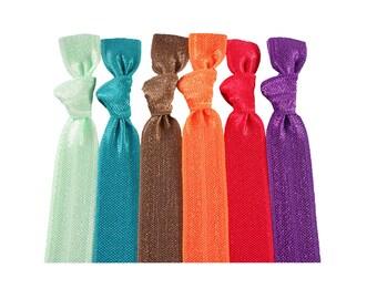 Ponytail Holder Fruit Forest Hair Tie Set: 6 Gentle Hair Elastics Comfort Hair Tie Handmade Ties in Solid Colours Double as Bracelets