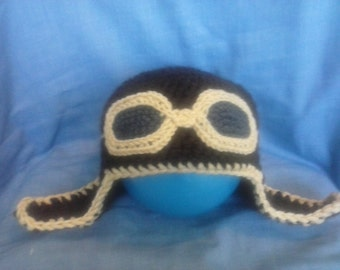 Aviator Baby Hat with Oval Goggles