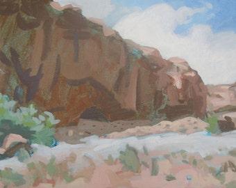 Framed Original Southwest Landscape Painting 'Cave, Utah' Shelley Hull