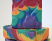 Dark Rainbow Citrus Flame-Cherry, Lime, Orange, & Lemon Naturally Scented Cold Process Goat's Milk Soap