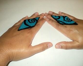 Diamond shaped earrings with swurls, swurl rings, Diamond shaped rings, Diamond shaped necklace, blue earrings, blue rings, swurl jewelry.