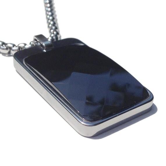tungsten carbide tag necklace black faceted by ceramicgestalt