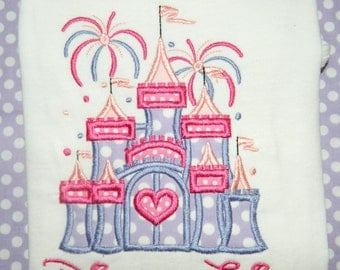 Cinderella Fireworks Castle Disney World Vacation Custom Personalized Tee