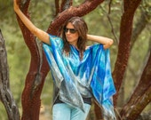 Blue silk poncho, hand painted turquoise and gray silk tunic