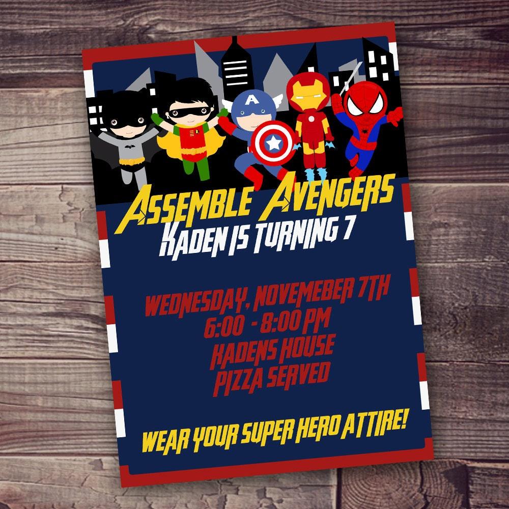 FAST Customized Superhero Birthday Invitation Avengers - Avengers birthday invitation wording