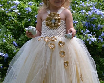 Golden Ivory Princess Flower Girl Tutu Dress for Weddings, Pageants, Photos, Birthdays