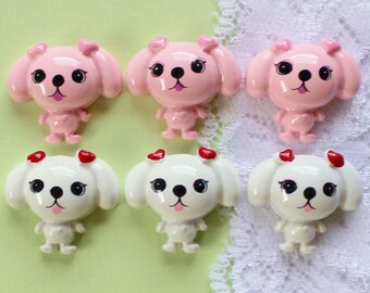 6 Pcs Pink and White Puppy Cabochons - 20x18mm