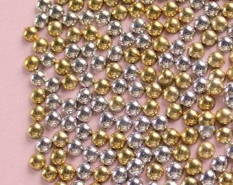 200 Pcs 5mm Silver and Gold Metallic Flatback Pearls