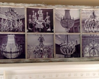 Sold---Upcycled Vintage window, approx. from the 40's. Custom chandelier photos. One of a kind piece of art. Great in any room.