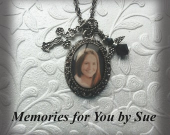 Personalized - Custom - Antique Silver Photo Pendant Necklace - Keepsake -Memorial - Photo Jewelry