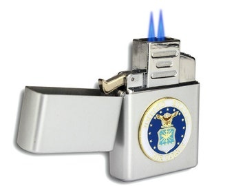 Double Flame Butane Torch Lighter with Air Force Emblem