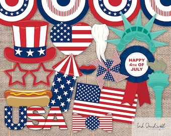 Instant Download 4th of July Photo Booth Props Printable Pack 15 items