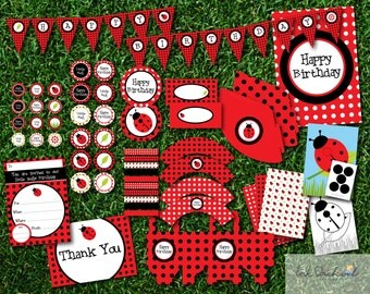 Instant Download Ladybug printable party pack