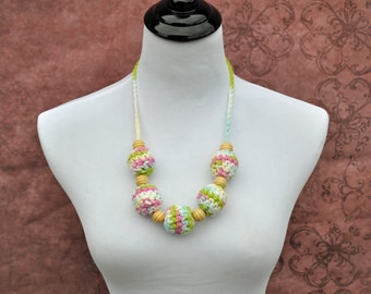 Nursing Mom Necklace -Teething Jewelry - Pink, Green, Blue, Cream, and White - Pastel