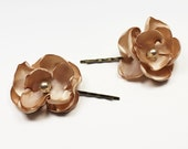 Champagne Rose Hair Pins - Light Brown Handmade Fabric Rose Hairpins - Satin Rose Hairpins