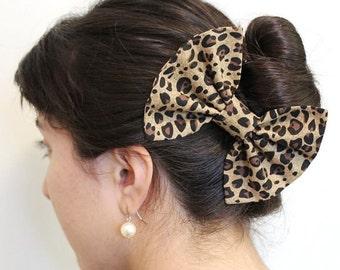 Girl Hair Bow, Leopard Print Bow - Animal Print Hair Bow - Brown Hair Bow