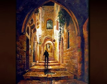 """Judaica Quality Oil Painting Embalished Mixed Media On Canvas  """"Walking Through The Alley"""" Jerusalem Old City"""