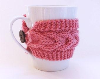 Knitted Pink Mug Cozy