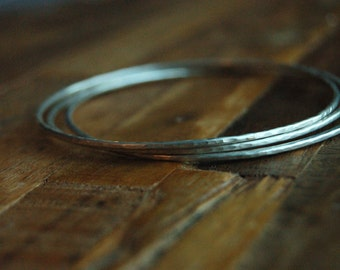 Sterling Silver Hammered Bangle Bracelet Set of 3