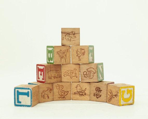 Vintage Wood Baby Blocks Baby Blocks Alphabet Block By