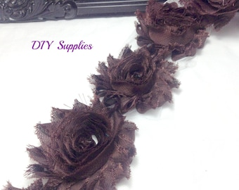 Brown shabby flower trim - shabby rose trim - wholesale flower trim - shabby trim - rose trim - chiffon trim - you pick amount