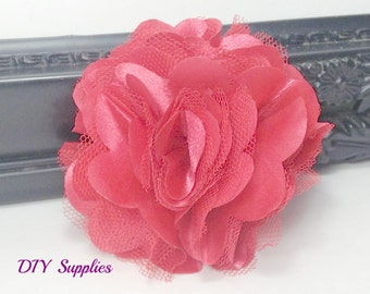 3 inch red satin tulle flower - diy wedding flowers - fabric flowers - wholesale flowers - hair bow supplies - flower for headband