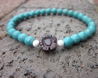White Turquoise Blue magnesite and carved flower jasper stone bead bohemian stretch stacking yoga rustic beads  ooak bracelet