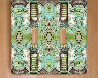 Belle Epoque Vinyl Double Light Switch Cover, Outlet Cover, Home Decor, Art Deco, Green, Aqua, Pastels, Whimsical, Steampunk, Swirls