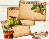 Jam jar labels for Homemade Goods Set Of 6 - Measures 3.5 x 2.5 inch - Printable Pantry Label Tags For Jam Marmalade Preserves