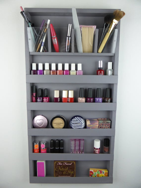 Grey make up organizer bathroom storage pencil lipstick - Rangement maquillage fait maison ...