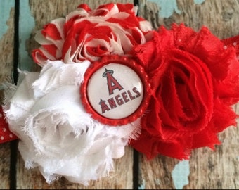 LA ANGELS Baseball shabby flower headband Baby Little Girl Hair Bow - Photo Prop