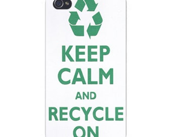 Apple iPhone Custom Case White Plastic Snap on - Keep Calm and Recycle On 0029