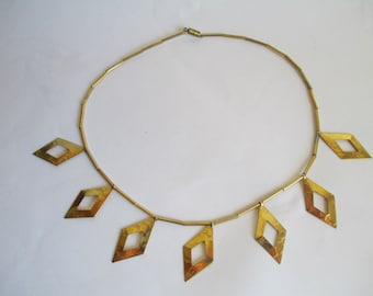 "Metal Necklace, Vintage Jewelry, Gorgeous Diamond Metal Cut Outs and Metal Beads - 17"" Stunning Gold Toned"