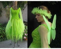 New Adult  Tinkerbell Fairy  Dress ~  Costume ~Tulle  Headpiece ~  Wings ~Theatre ~ Bridal ~ Theatre