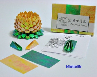 Pack of 300 Sheets Yellow Origami Lotus Paper Folding Kit for 3pcs Small Size Lotus. (TX paper series). #LPK-35.