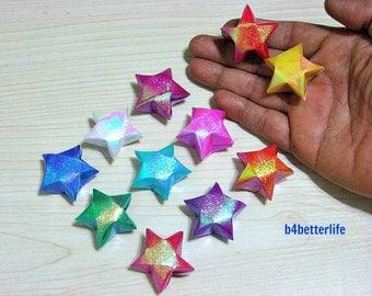 60pcs Big Size Assorted Colors Hand-folded Origami Lucky Stars. (TX paper series).