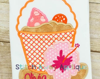 Girly Summer Sand Pail Machine Applique Design
