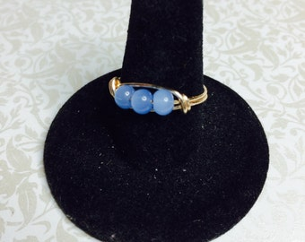 Periwinkle blue 3 bead wire wrapped ring