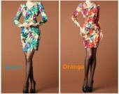 012.Vintage Green Pencil Skirt Ruffled Design Floral Print Sheath Plus Size Noble Bodycon Evening Dress Beading Decoration