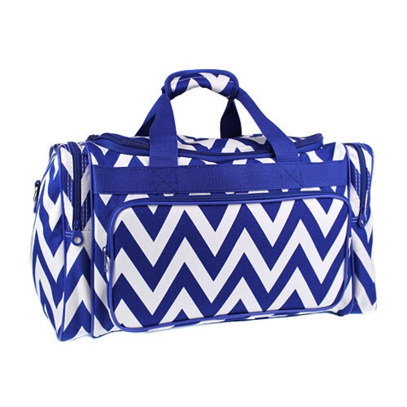 pc Royal blue Chevron overnight bag with matching Diaper bag
