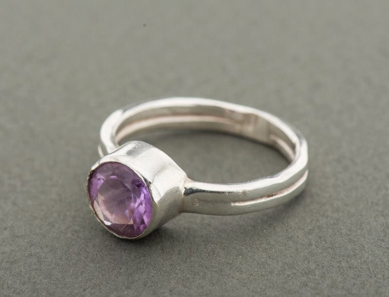 Silver Amethyst ring, Amethyst engagement ring, Solitaire ring, February birthstone ring, Eco friendly recycled silver