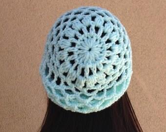 Crochet Lacy Hat, Women's Handmade Mesh Beanie in Light Mint, Net Hat, Gift for Her, Gift for Teen Girl ***Ready To Ship***